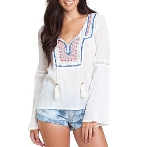 Billabong Embroidered Bell Sleeve Peasant Top